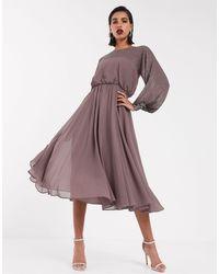 ASOS Midi Dress With Linear Yoke Embellishment-multi - Purple