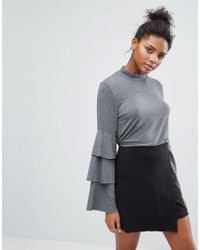 ONLY - Frill Bell Sleeve Top - Lyst