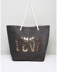 South Beach Paper Straw Summer Love Beach Bag - Black