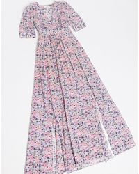 & Other Stories Floral Print Tie Waist Maxi Dress With Splits - Multicolor