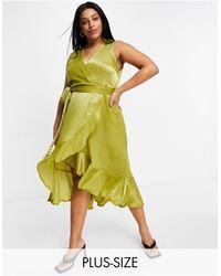 AX Paris - Платье Золотистого Цвета С V-образным Вырезом И Запахом -золотистый - Lyst