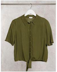 Vila - Оливково-зеленая Рубашка С Завязками -зеленый - Lyst