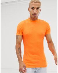 ASOS – Muskel-Rollkragenpullover aus Jersey - Orange