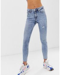 Bershka – Distressed-Skinny-Jeans - Blau
