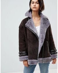 ASOS Asos Suede Aviator With Faux Shearling - Brown