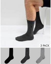 AllSaints - 3 Pack Socks With Logo - Lyst