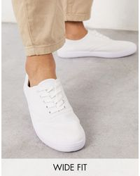 ASOS Wide Fit Oxford Plimsolls - White