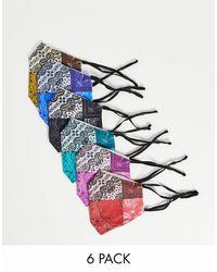ASOS Confezione da 6 mascherine con stampa bandana - Multicolore