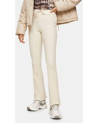 TOPSHOP Ribbed Pocket Flared Trousers - Natural
