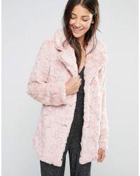Glamorous Faux Fur Coat - Pink