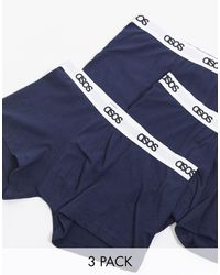 ASOS Confezione da 3 boxer aderenti blu navy con elastico
