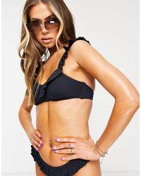 DORINA Kota - Geribbelde Bikinitop Met Lichte Vulling - Blauw