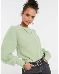 Monki Qamelia Knitted Sweater With Volume Sleeve - Green