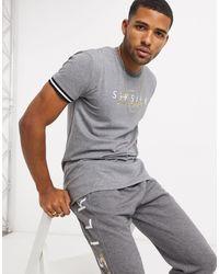SIKSILK – es T-Shirt mit Logoschriftzug - Grau
