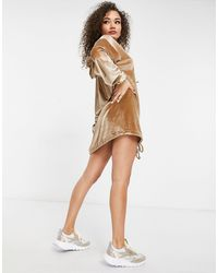 Fashionkilla Exclusive Velour Oversized Hoodie Dress With Drawstring Detail - Natural