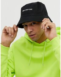 ASOS - Bucket Hat In Black With Slogan Embroidery - Lyst