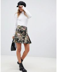 ASOS - Mini Floral Jacquard Wrap Skirt With Buckle - Lyst