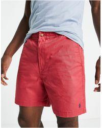 Polo Ralph Lauren Красные Шорты Чиносы Цвета Перца Чили Из Твила С Логотипом -красный