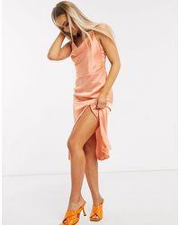 In The Style Коралловое Атласное Платье Миди С Бретельками На Спине X Meggan Grubb-розовый