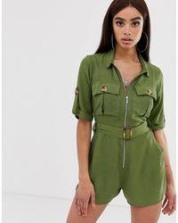 Boohoo Combishort fonctionnel avec poches - kaki - Vert