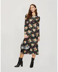 Miss Selfridge Robe rétro mi-longue à grandes fleurs - Noir