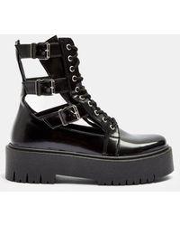 TOPSHOP Cut Out Buckle Boots - Black