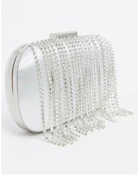 True Decadence Clutch Bag With Rhinestone Tassel Fringing And Detachable Strap - Metallic