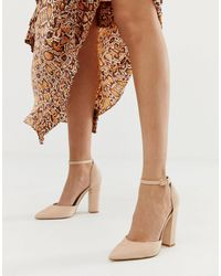 ALDO Nicholes Block Heeled Court Shoes With Ankle Strap - Natural