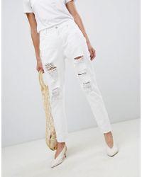 Vila - Ripped Mom Jeans - Lyst