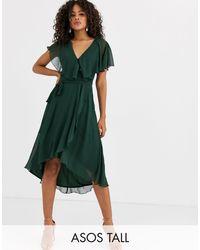 ASOS Vestido midi con bajo asimétrico y capa en la parte posterior - Verde