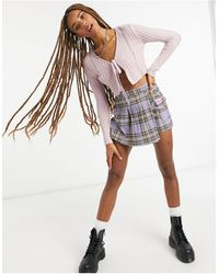 Bershka Gonna pantalone a pieghe stile tennis viola a quadri