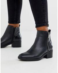 New Look Черные Ботинки На Каблуке С Молнией -черный