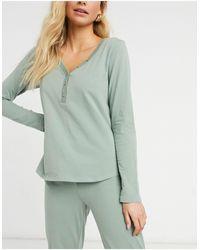 Lindex Astrid Organic Cotton Button Front Pyjama Top - Green
