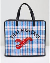 Skinnydip London That Fish Cray Embroidered Lobster Shoulder Bag - Blue