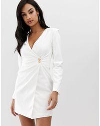 Club L London Club L Crepe Wrap Front Button Detail Dress - White