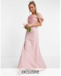 Missguided Robe bandeau pour demoiselle d'honneur avec détail en organza - poudré - Rose