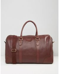 Barneys Originals - Barneys Structured Leather Carryall In Oxblood - Lyst