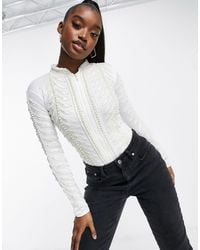 A Star Is Born Embellished Pearl Zip Bodysuit - White