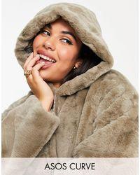 ASOS Asos Design Curve Cropped Hooded Faux Fur - White