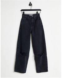 TOPSHOP baggy Jeans Met Kniescheuren En Wassing - Zwart