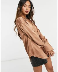 ASOS Satin Shirt With Collar And Deep Cuff Brown-no Colour
