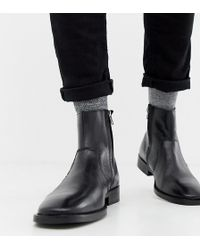 ASOS Chelsea Boots In Black Leather With Square Toe