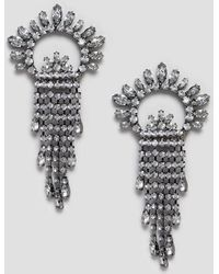 ASOS - Earrings With Crystal Fan And Strand Design In Gunmetal - Lyst