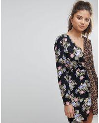 Missguided - Платье Мини С Глубоким Вырезом, Цветочным И Леопардовым Принтом -черный Цвет - Lyst