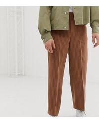 Noak Wide Leg Pleated Smart Pants In Pinstripe - Brown