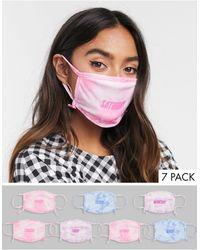 Skinnydip London Esclusiva - Confezione da 7 mascherine con giorni della settimana con laccetti regolabili rosa e blu tie-dye - Multicolore