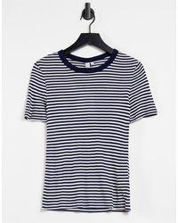 & Other Stories T-shirt rayé en tissu écoresponsable - Bleu marine et blanc
