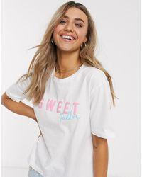 ASOS Mix En Match - Pyjamashirt Met 'sweet Tooth'-slogan - Wit