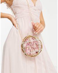 ASOS Diamante Embellished Cage Sphere Bag - Metallic