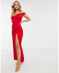 AX Paris Bardot Maxi Dress With Split - Red